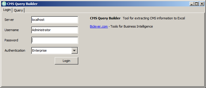 CMS Query Builder - Login